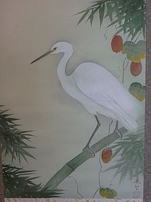 Antique Japanese Egret Scroll by Hishida Shunso C.1909