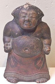 Antique Japanese Clay Fushimi Sumo Doll, C. 1930