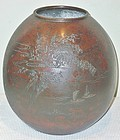 Antique Japanese Bronze Flower Vase C.1935