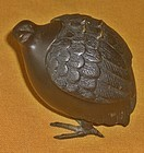 Antique Japanese Bronze  Quail Incense Burner C. 1930