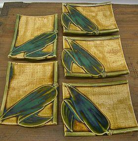 Antique Japanese Oribe Tea Ceremony Plates C.1935