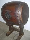Antique Japanese Large Meiji Period Keyaki Drum