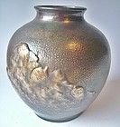 Antique Japanese Gyokusendo Hand -Hammered Copper Vase
