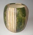 Antique Japanese Signed Inayama Oribe Flower Vase