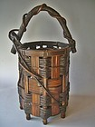 Antique Japanese Bamboo/Wisteria Flower Basket