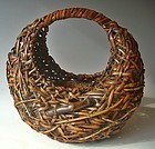 Antique Japanese Half-Moon Ikebana Bamboo Basket