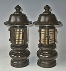 Antique Japanese Bronze Buddhist Temple Lanterns