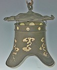 Antique Japanese Bronze Hanging Art Deco Lamp