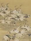 Antique Japanese Taisho Period Crane Scroll
