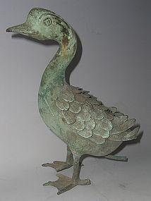 Antique Japanese Bronze Duck Water Spout