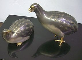 Antique Japanese Mixed Metal Quail,  Signed Seifu