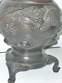 Antique Japanese Bronze Flower Arrangement Vase C.1910