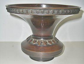Antique Japanese Bronze Art Deco Vase, C.1930