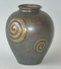 Antique Japanese Hand-Hammered Copper Flower Vase