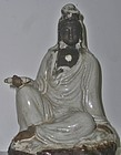 Antique Japanese Ceramic Kannon Bosatsu Statue