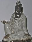 Antique Japanese Ceramic Kannon Bosatsu Statue