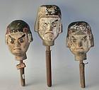 Antique Japanese Bunraku Puppet Heads, Wood