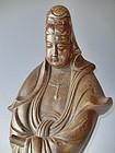 Antique Japanese Signed Kozan II Bizen Ceramic Kannon
