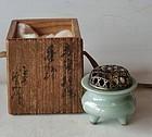 Antique Japanese Celadon Tea Ceremony Incense Burner