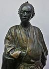 Antique Japanese Sakamoto Ryoma Ceramic Statue