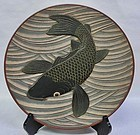 Antique Japanese Showa Period C. 1967 Carved Wood Plate