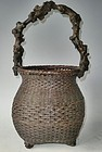 Antique Japanese Root Handle  Bamboo Flower Basket