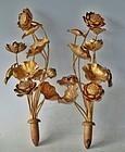 Antique Japanese Brass Buddhist Temple Altar Flowers