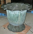 Antique Japanese Huge Bronze Temple Lotus Rain Basin