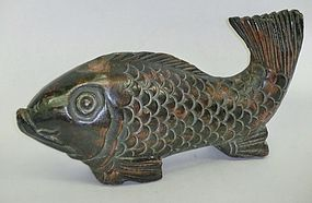 Antique Japanese Zelkova Jizaikagi Hearth Fish C.1920