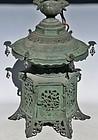 Antique Japanese Meiji Period Bronze Lantern C.1890
