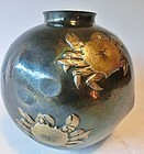 Antique Japanese Gyokusendo Crab Copper Flower Vase