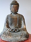 Antique Japanese Edo Period Wood Buddha w/Stand