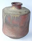 Antique Japanese Tamba Sembei Ceramic Jar C.1930