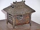 Antique Japanese Bronze Hut Koro Incense Censor C.1920