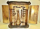 Antique Japanese Lacquered Travelling Altar With Buddha C.1890