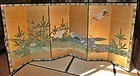 Antique Japanese Edo Period C.1860 Small  Kano School Crane Screen
