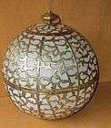 Antique Japanese Huge Brass Temple Globe Lantern C.1950