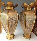 Antique Japanese Large  Pair Zen  Temple Altar Lights c.1950