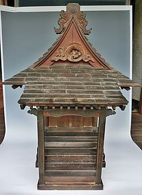 Antique Japanese Dated C.1818 Edo Period Village Shrine