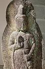 Antique Japanese Sho-Kannon Stone Bodhisattva Diety Dated 1820