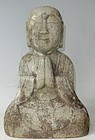 Antique Japanese Granite Jizo Guardian Diety C. 1870