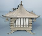 Antique Japanese C.1950 Art Deco Bronze Garden Lantern W/Light