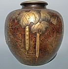 Antique Japanese Bronze Gourd Flower Vase