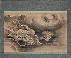 Antique Japanese Dragon Painting Scroll