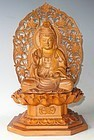 Contemporary Japanese Wood Buddha C.1970