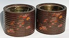 Antique Japanese Pair Paulownia Wood Braziers W/Makie Grape Leafs