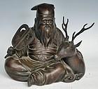Antique Japanese Meiji Period C.1910 Bronze Sage W/Deer
