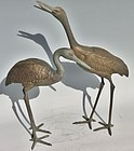 Antique Japanese Pair Bronze Garden Cranes C.1970