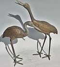 Antique Japanese Pair Bronze Garden Cranes C.1970