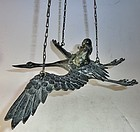 Antique Japanese Hanging Bronze Crane/Sage Incense Burner C.1970